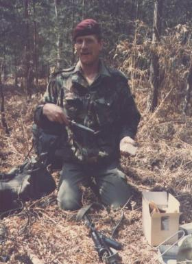 The late Pte Steve Wall having a snack, Guildford, 1984