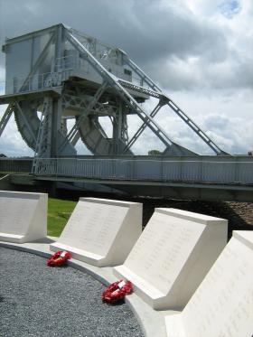 The original Pegasus Bridge, with new memorial dedications, June 2009