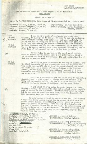 Account of escape from PoW camp by Anthony Deane-Drummond after Tragino raid.