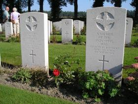 Burials at Oosterbeek War Cemetery of soldiers presumed killed at the 6km marker near Arnhem.
