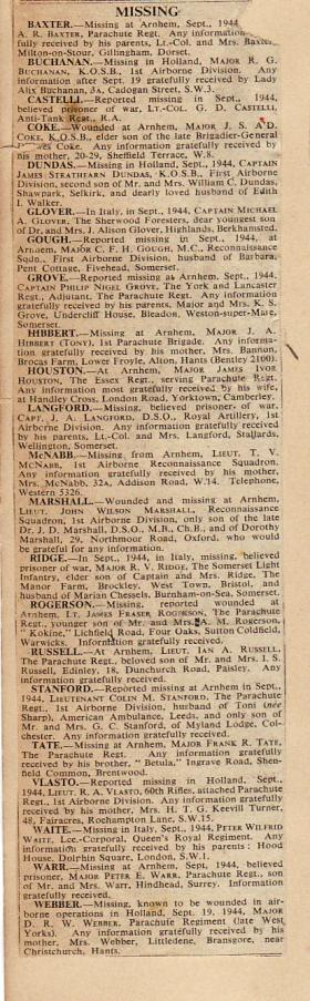 Newspaper cutting detailing people posted missing at Arnhem