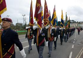 Veterans marching to the unveiling ceremony of the Paignton Memorial 28 March 2010