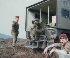 S/Sgt Williams, Sgt Davies and Cpl Joblin after a successful drop by 4 Para, Isle of Man, April 1984