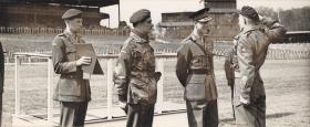 WO1 K R James receiving medal from HRH Duke of Edinburgh, April 1955 (?)
