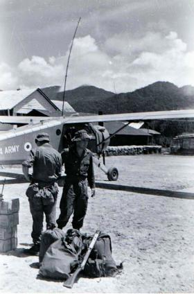Guardsmen waiting for helicopter into Ulu, Brunei 1965