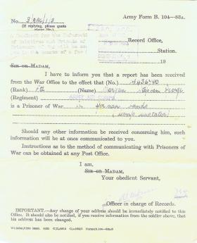 POW notification for Pte Stephen George Morgan, Nov 1944.