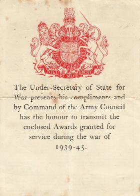 War Office medal award compliments slip for Jim Lund, 1945