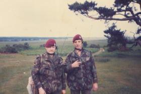 Men of 144 PFA Nottingham detachment await the arrival of 4 PARA on the DZ, Thetford, July 1984