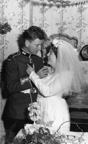 Wedding photo of Gdsm Mike and Ann Keighery, Nottingham, 1962