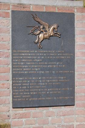 Wolfheze Memorial plaque to 1st Airborne and Polish Independent Parachute Brigade, nr Arnhem