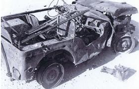 Wreckage of a mined jeep of 2 FOU, nr Jerusalem, Palestine
