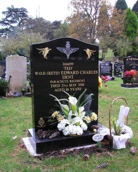 Gravestone of Edward 'Ted' Dent, Aldershot, Nov 2009.