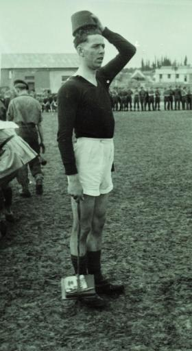 Ted Dent during the 2nd Parachute Battalion Christmas Football match, Palestine, Dec 1946
