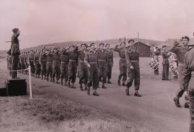 The newly formed 10th (TA) Battalion, The Parachute Regiment parade at their annual camp, April 1949