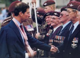 HRH The Prince of Wales meets Parachute Regiment veterans on Airborne Forces Day, Rushmoor Arena, 1990