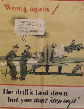 "Poster comically depicting incorrect procedure - The drill's laid down but you don't ""step on it"""