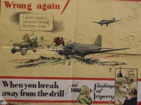 Poster comically depicting incorrect procedure - When you break away from the drill. . .