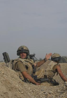 2 PARA soldiers identify the direction of hostile fire, FOB Gibraltar, Afghanistan, July 2008