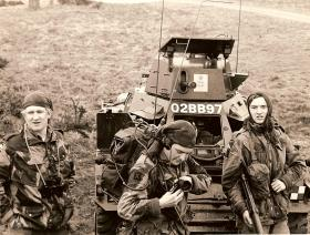 Soldier of 10 PARA after capturing a Ferret on a training exercise, 1969
