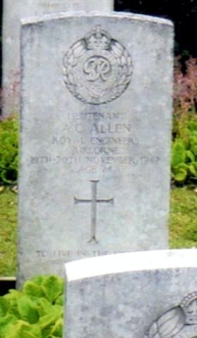 Headstone of Lt A Allen, Eiganes Churchyard, in Stavanger, Norway.