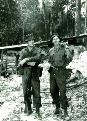 Sgt Allen 'Taff' Alderman and 'Brummie' Flowers, 16 Para Heavy Drop Coy RAOC on loan to 2 PARA, Borneo, 1965.