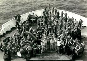 A Company, 2 PARA on board MV Norland, April 1982.