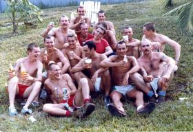 Group photo of members of A Coy, 2 PARA, relaxing whilst in Belize, 1983