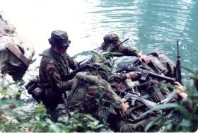 Soldiers of A Coy, 2 PARA preparing to cross a river on exercise, Belize, 1983