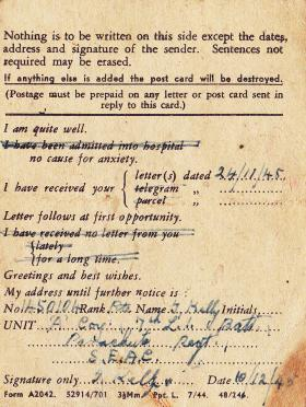 A field postcard sent by Pte Tommy Kelly in December 1945 from South East Asia Command (SEAC).