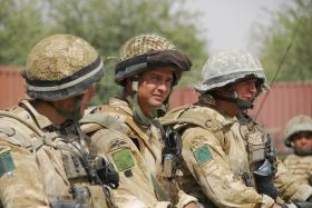 3 PARA soldiers wearing modified helmet covers, Musa Qala, Afghanistan, 2008.
