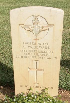 Grave of Pte A Woodward, Khayat Beach Cemetery, 1 January 2015.