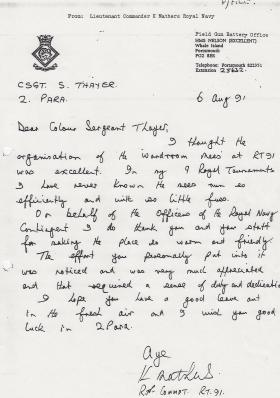 CSgt Thayer's Royal Tournament letter of thanks from Lt Col Mathers, 1991