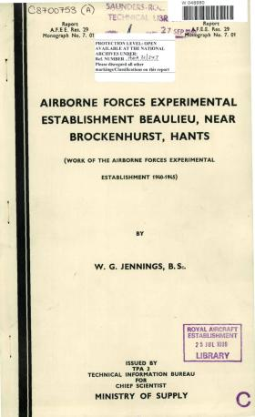 Work of the Airborne Forces Experimental Establishment 1940-45