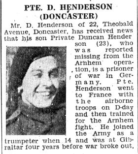 Pte D Henderson in a Doncaster Free Press article, December 1944.