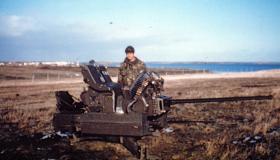 Argentine anti-aircraft gun at Goose Green, 29 May 1982.