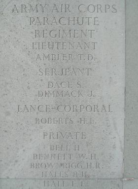 Panel on the Memorial to the Missing at Brookwood Military Cemetery, Surrey. January 2001.
