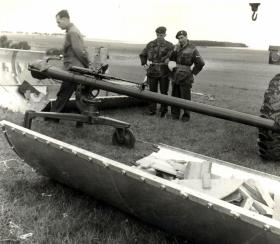 An M40 Recoilless Rifle after dropping on Salisbury Plain, 1958.