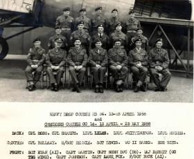 Members of the Heavy Drop and Checkers Course held at AATDC, RAF Old Sarum, 1958.