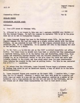 Letter nominating the Norland Trophy to L Cpl Thayer for actions in the Falklands