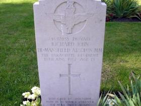 The headstone of Pte Absolon MM, Aldershot Military Cemetery.