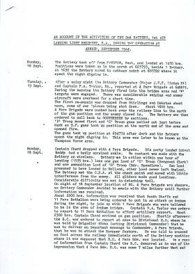 Account of activities of 1st Airlanding Light Regiment RA at Arnhem.