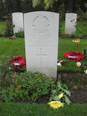Headstone of Cpl William Adams, Oosterbeek War Cemetery, 2009.