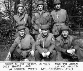 2nd Lt Harper, centre back, after his eighth parachute jump at Ringway, 1944
