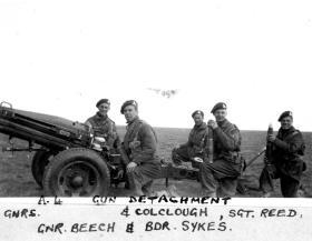 A gun detachment on Larkhill Ranges, by Lt Harper, 1944.