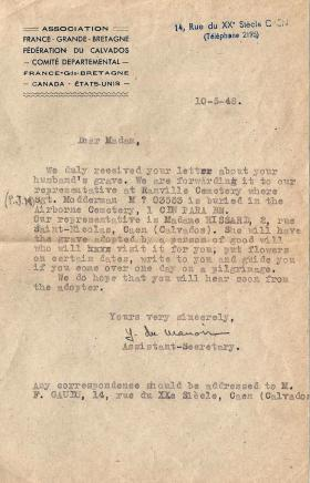 Letter to Sgt Modderman's widow regarding the adoption of his grave, 10 May 1948.