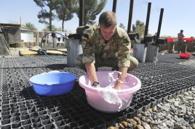 Laundry Day for 16 Close Support Medical Regiment, FOB Shezad, Afghanistan, 2011