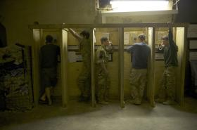 Soldiers Ringing Home, FOB Shezad, Afghanistan, 2011