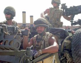 Sgt Liney in a WMIK, Afghanistan, 2008.