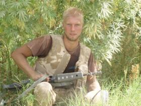 L/Cpl Gilley, Marijuana field behind Afghan National Police Station, Sangin DC, 2006