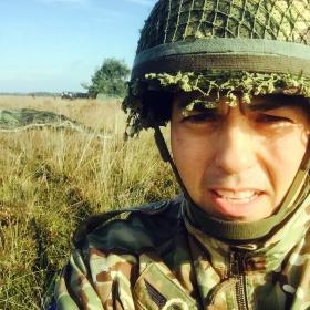 Sgt Maj Magreehan after parachute descent into Arnhem 2015.